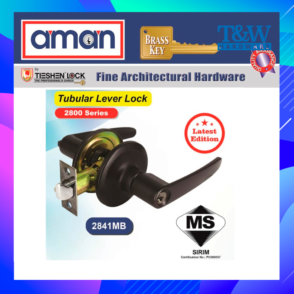 AMAN Matte Black Tubular Lever Lock Entrance Door Lock Knob Set 2841MB [T&W Hardware]