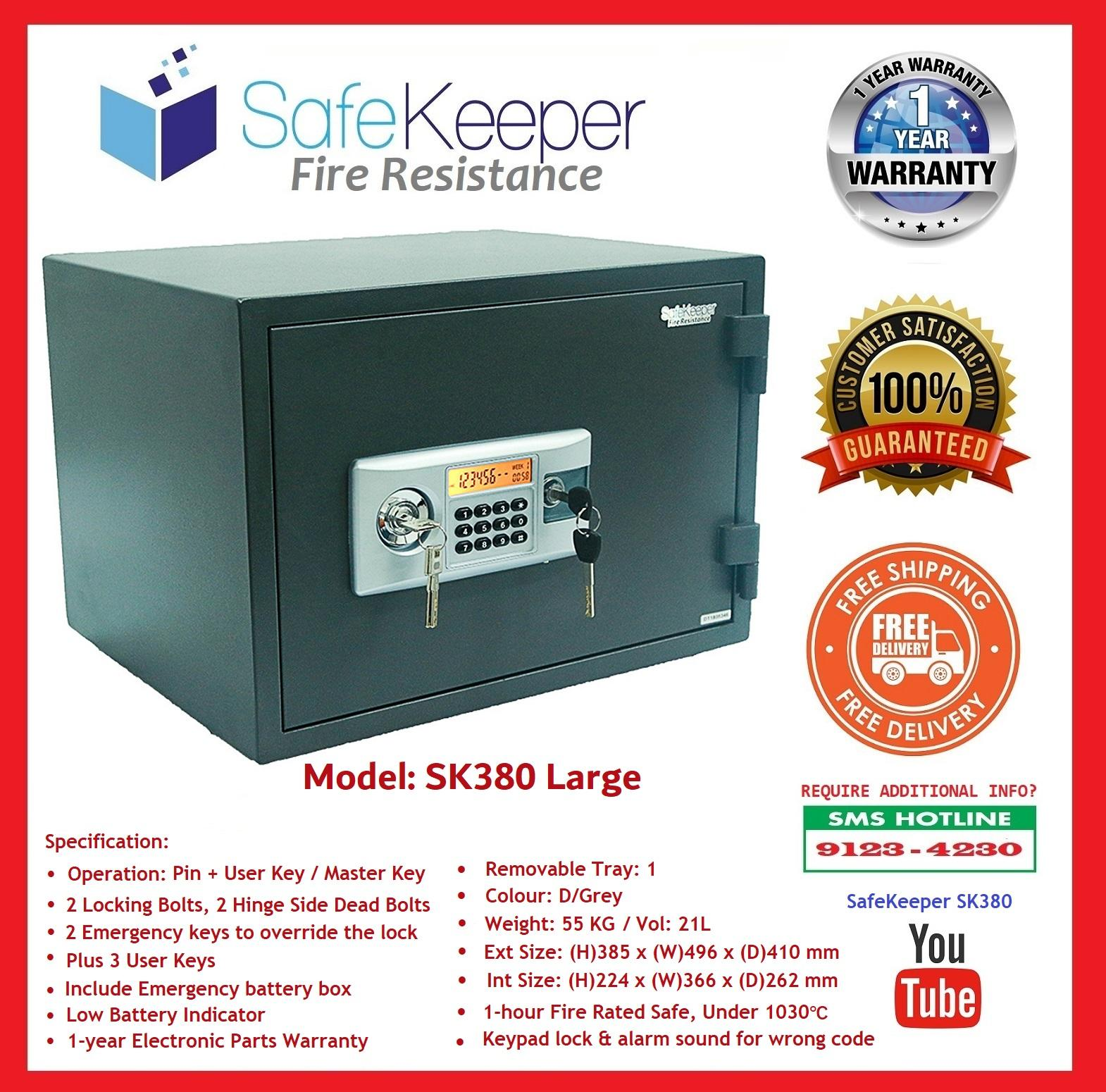 SafeKeeper Fire Resistance Safe ~ SK380 Large ~ New Product ~ Weight: 55 KG ( Color: D/Grey ) SG Seller ~ Free Delivery ~ 3 Working Day!
