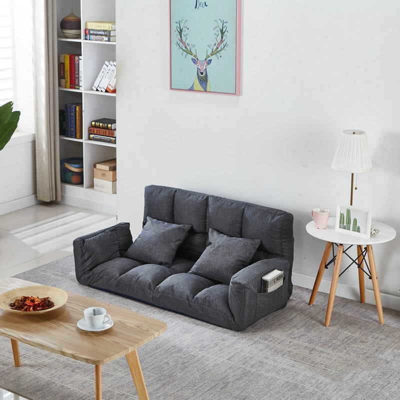 Online Celebrity Beanbag Small Apartment Fabrics Sofa Bed Northern Europe Folding Terrace/Patio Small Sofa Double-seat Sofa Tatami