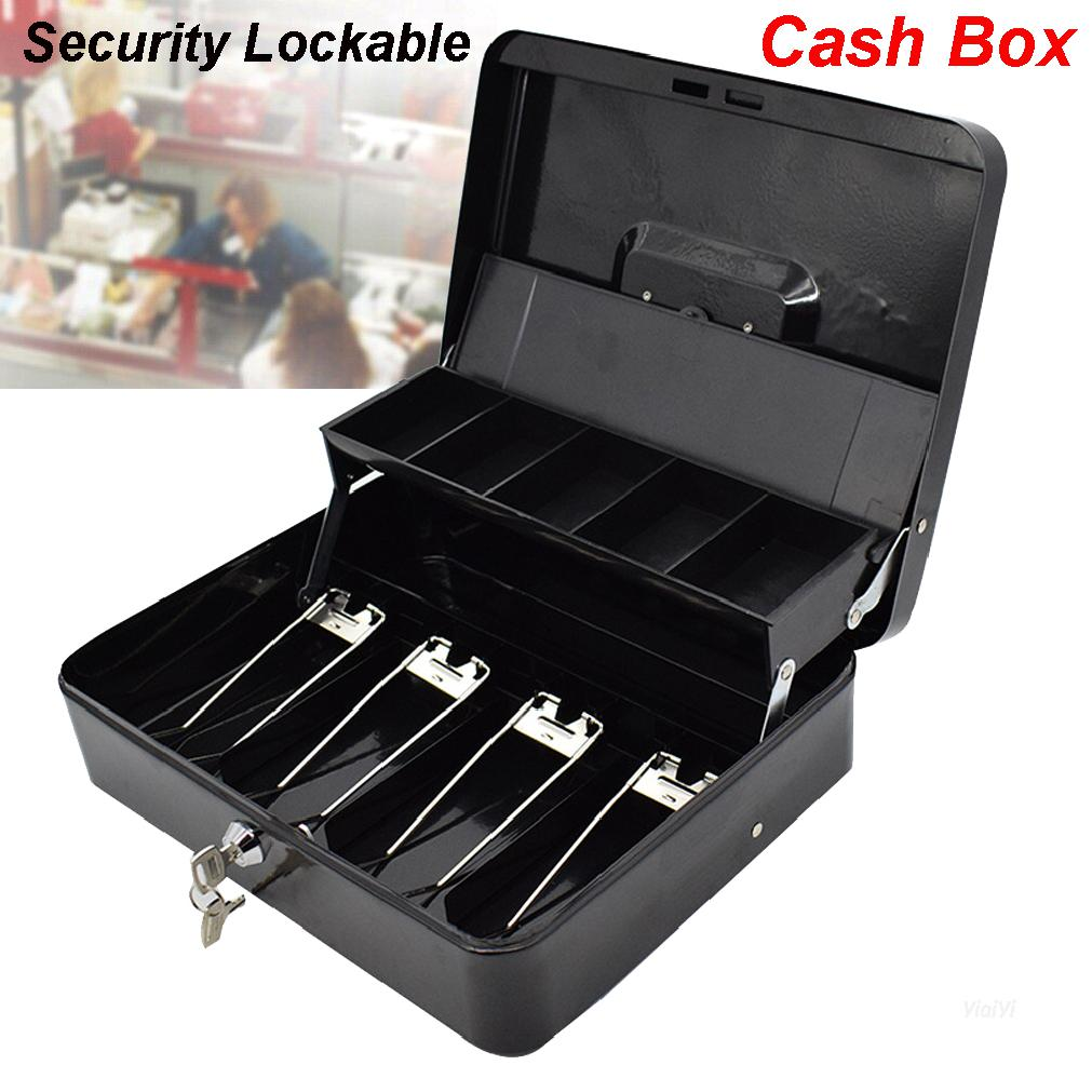 Portable Security Lockable Cash Box Tiered Tray Money Drawer Safe Storage Black 【Shop Vouchers】