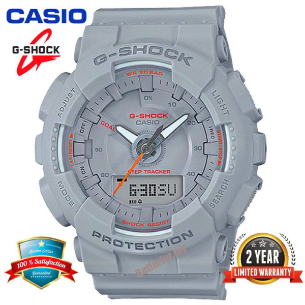 Original Casio G Shock GMAS130 Women Sport Watch Dual Time Display 200M Water Resistant Shockproof and Waterproof World Time LED Light Girl Pedometer Step Tracker Sports Wrist Watches with 2 Year Warranty GMA-S130VC-8A Grey Malaysia