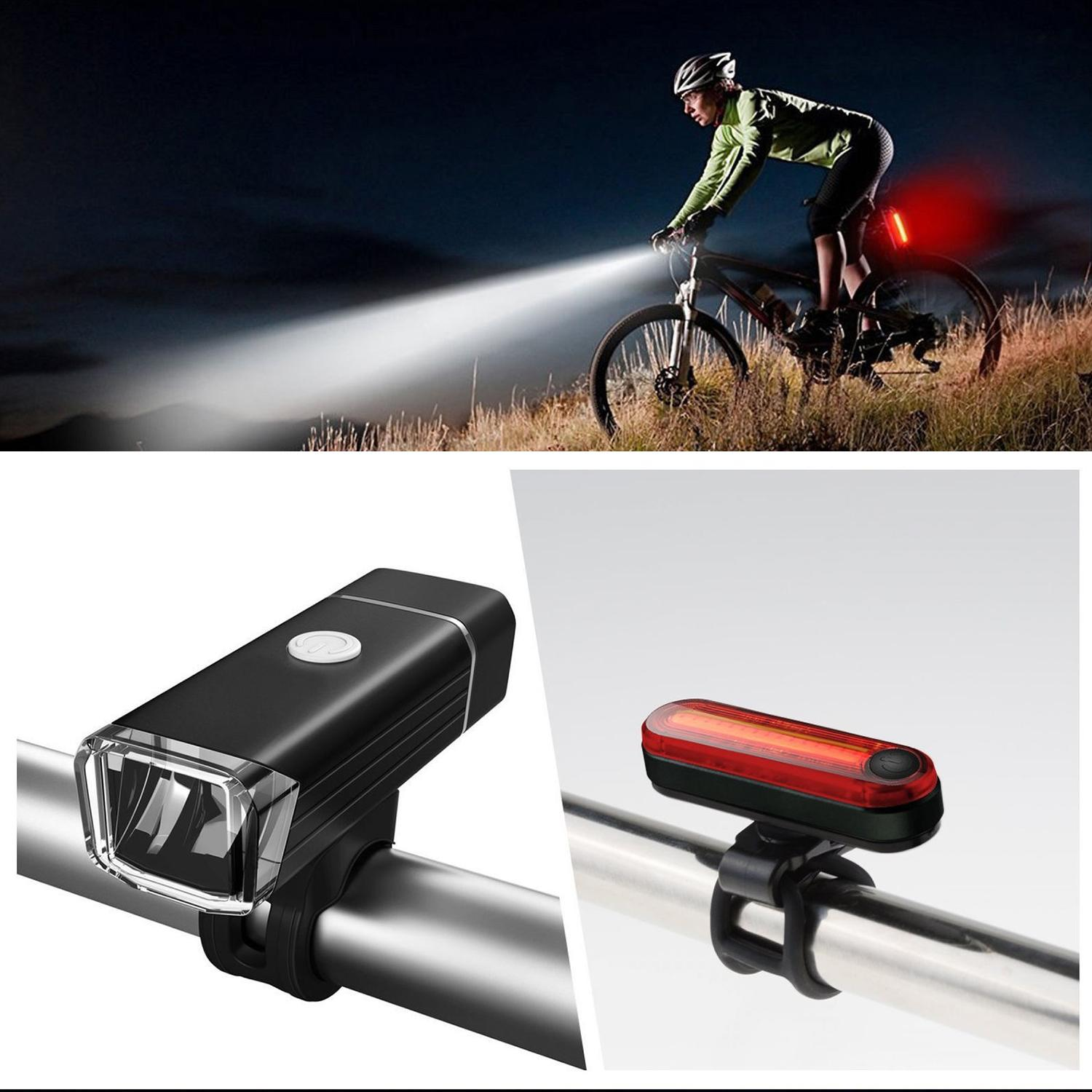 [SG Seller]SAVFY Bike Lights Sets,USB LED Rechargeable Bicycle Lights Set  Mountain Cycle Front Back Headlight