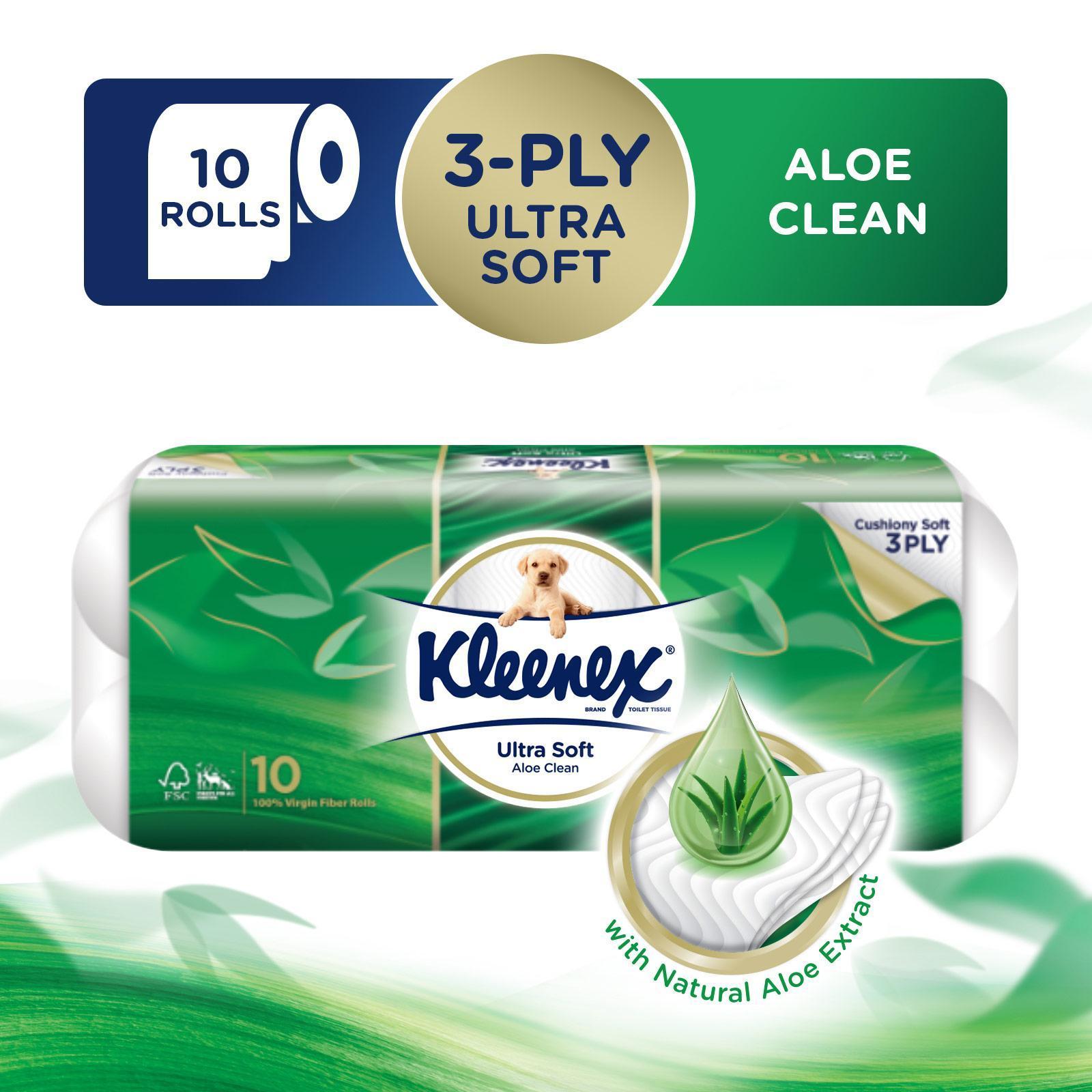 Kleenex Ultra Soft Aloe Clean 3-Ply Toilet Tissue - 10 Rolls