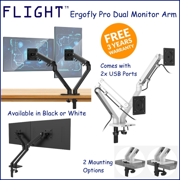 Flight™ Dual Ergofly Pro Monitor Arm LCD Arm Monitor Mount Vesa Monitor Stand Slim Design Come With 2x 3.0USB Dynamic Spring Mechanism, International Vesa Compatible, 0.5-9kg, Cable Management Included, 360 Degree Monitor Rotation