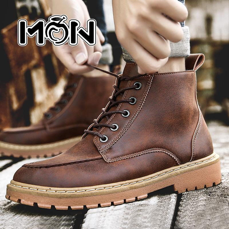f13a1da5050f79 MON Men High Quality Leather Work Boots Waterproof Military Boots Ankle Boot  Fashion Boot