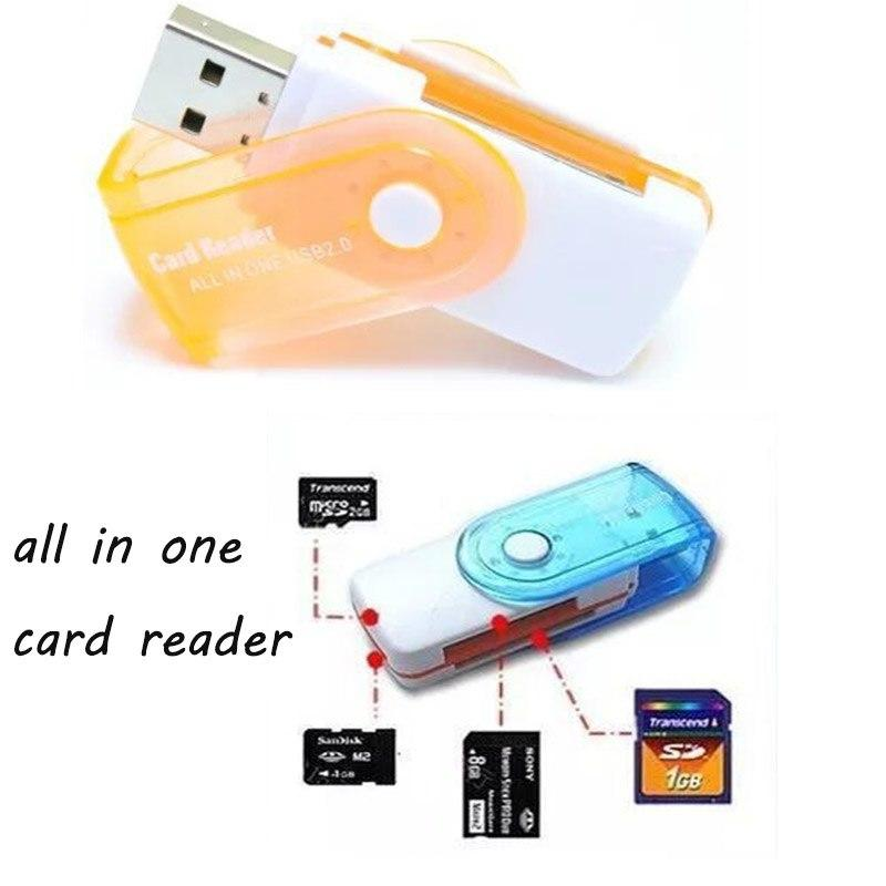 Swivel All In One Memory Card Reader Adapter USB 2.0 T-Flash Multi Slot For SD/TF M2 MMC SDHC MS (2PC PACK)