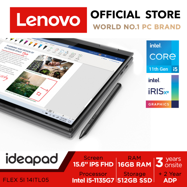 LENOVO Ideapad Flex 5i 14ITL05 82HS000XSB | 14inch FHD IPS Touch Screen | i5-1135G7 | 16GB RAM | 512GB SSD | Iris Xe Graphics | Lenovo Digital Pen | 3 Years Onsite warranty | 3Years Onsite warranty + 2Years ADP
