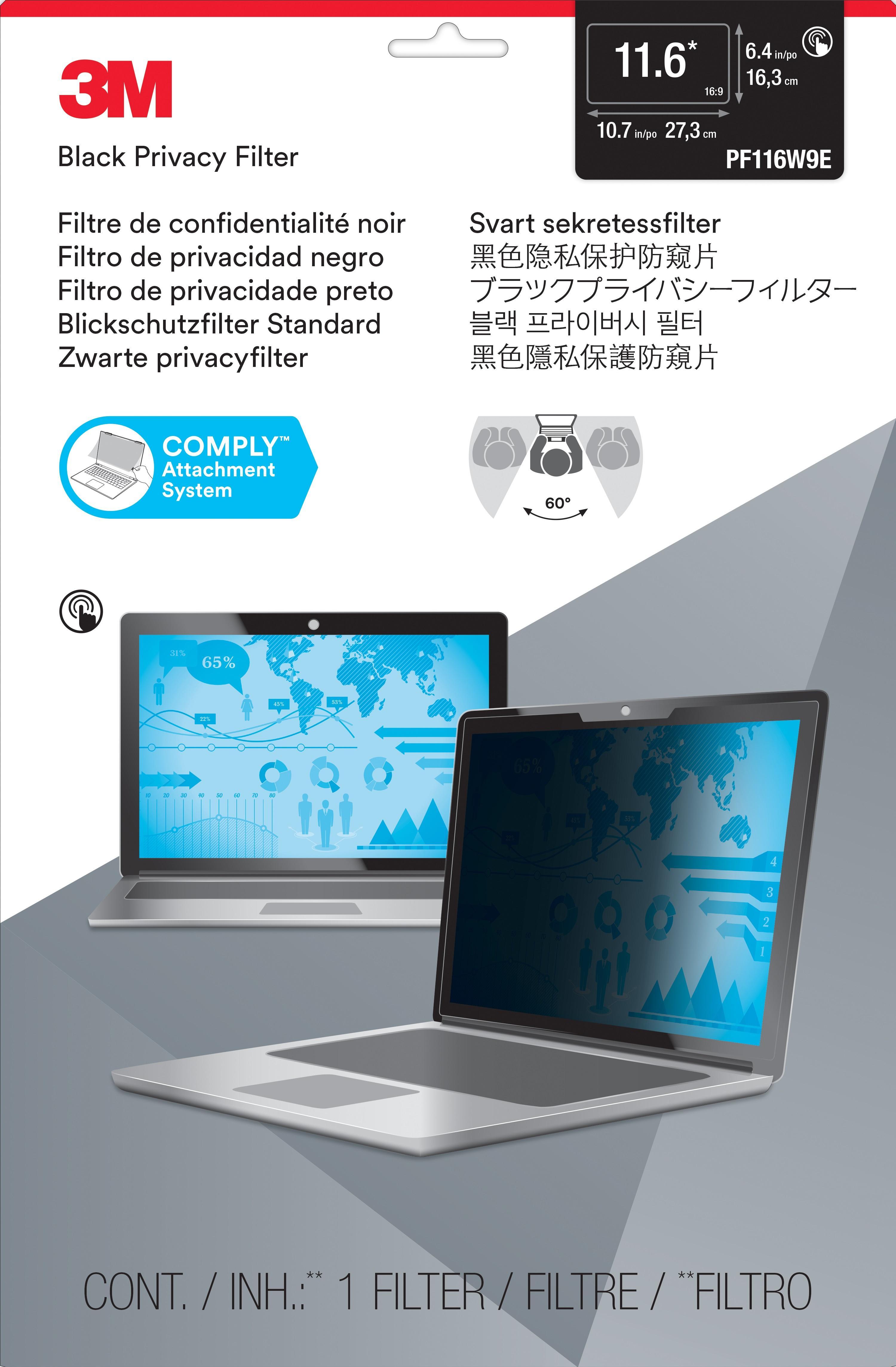 3M™ PF116W9E Touch Laptop Privacy Filter (16:9) (PF116W9E) - 273 mm (W) x 163 mm (H)