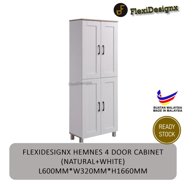 FlexiDesignx Hemnes 4 Door Shoe Cabinet / Multi Function Shoe Rack / Strong Construction Laminate Wood / Rack Kasut / Hot Selling