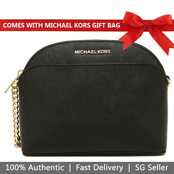 4cac15bffdd9 Michael Kors Crossbody Bag With Gift Bag Emmy Medium Saffiano Leather Dome  Crossbody Handbag Black #