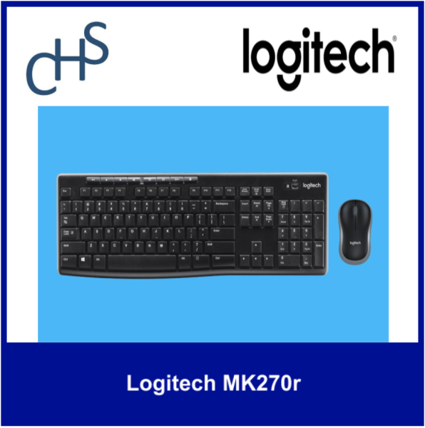 (Original) Logitech MK270r | Long range wireless 2.4 GHZ | Full size keyboard | Compatible for Windows Vista®, Windows® XP, Windows 7, Windows 8, Windows 10 USB Port Chrome OS™ | 3 years warranty | Singapore