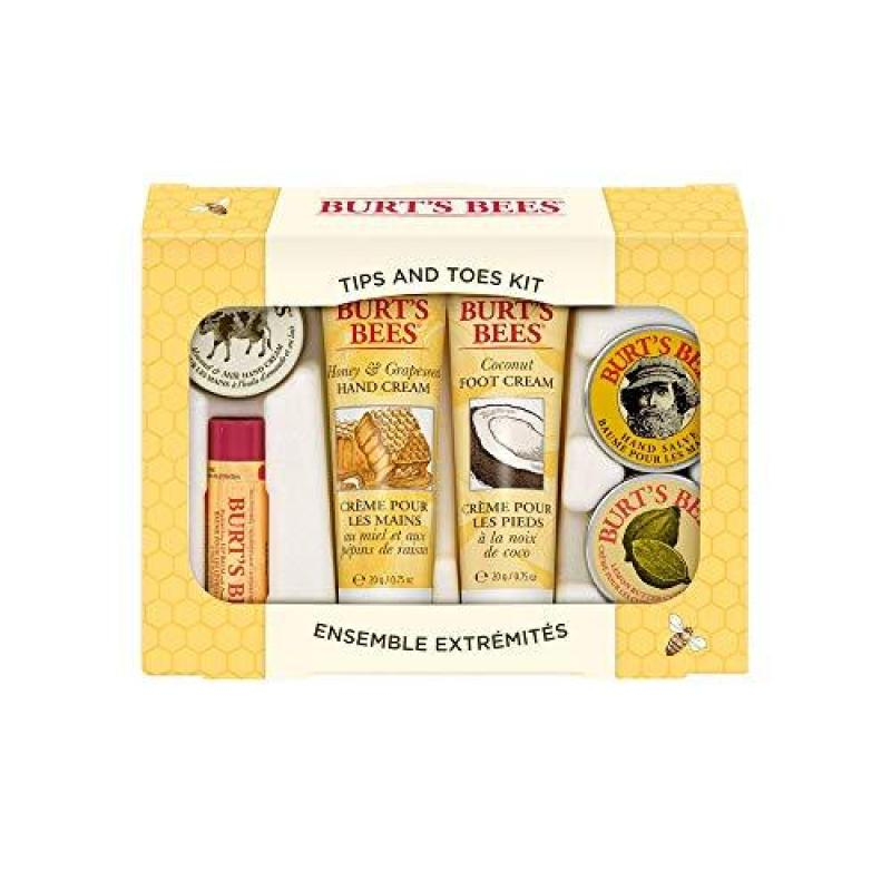 Buy Burts Bees Tips and Toes Kit Gift Set, 6 Travel Size Products in Gift Box - 2 Hand Creams, Foot Cream, Cuticle Cream, Hand Salve and Lip Balm Singapore