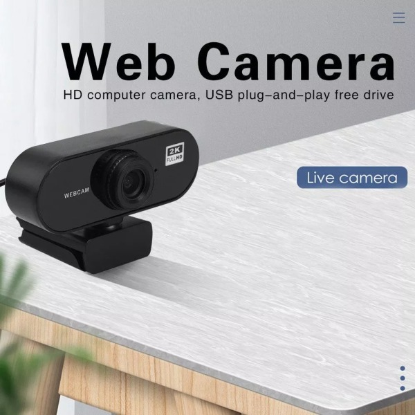 2K Full HD (8.1MP) Webcam Mini Computer PC WebCamera Microphone Rotatable Cameras Live Video Call
