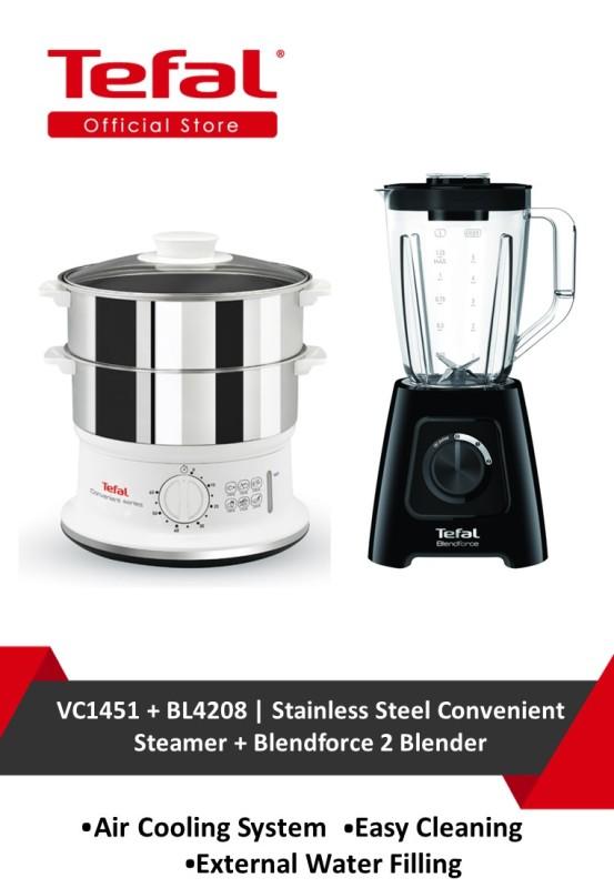 Tefal Stainless Steel Convenient Steamer VC1451 + Tefal Blendforce 2 Blender BL4208 Singapore