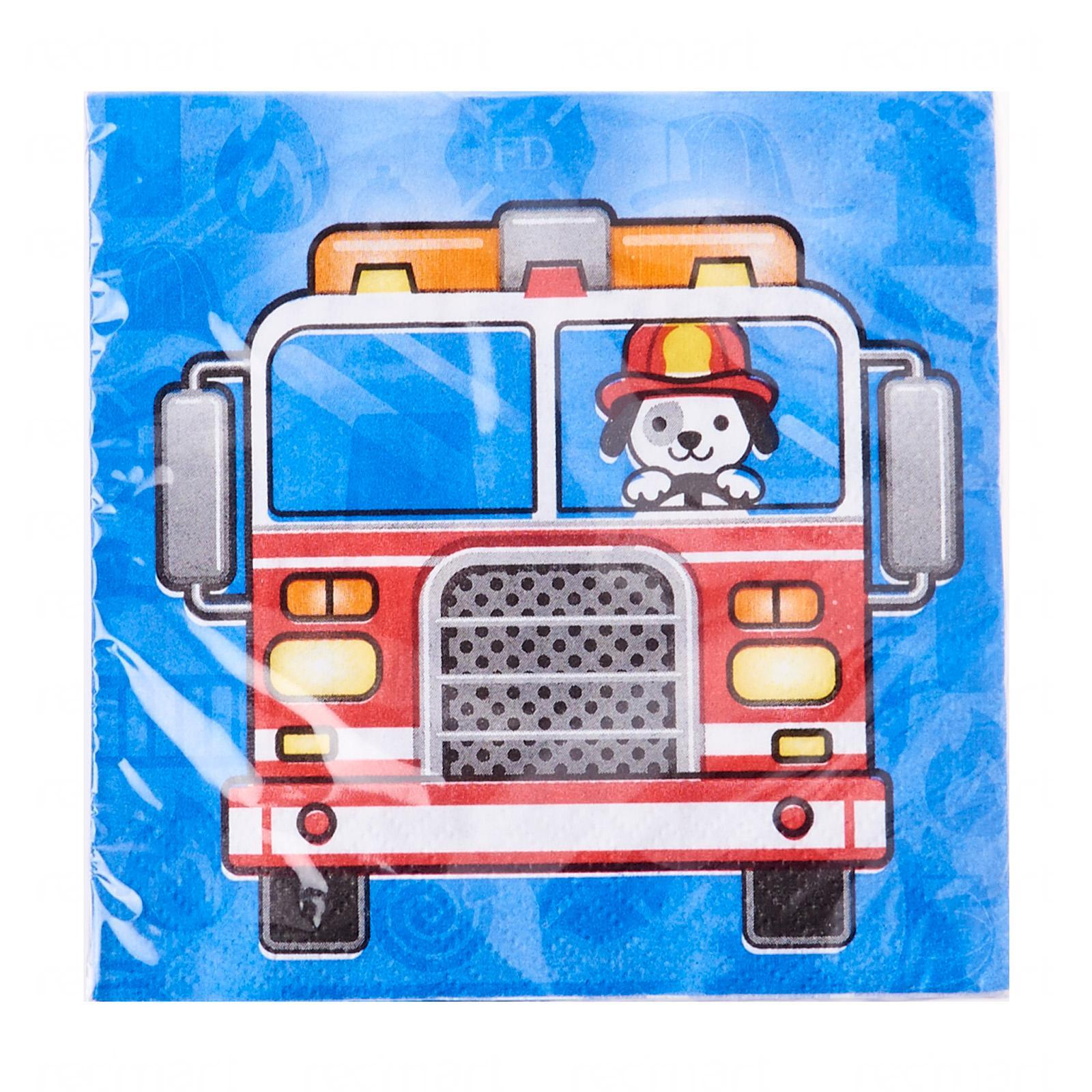 Creative Converting Flaming Fire Truck Beverage Napkins Pack