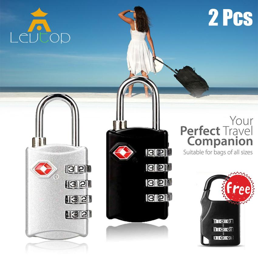 1b08a38145a3 LEVTOP Luggage Travel Lock, Door Lock, Bike Lock, 4 Dial Travel Padlock TSA  Approved Password Lock for Luggage / Suitcase / Baggage Toolbox / Fence /  ...