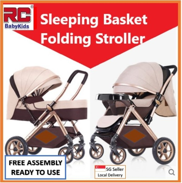 RC-BabyKids 2020  New Version 2 Way Reversible Baby Prams Sleeping Basket Folding Stroller Children Travel Buggy Infant Pram Kid Pushchair Carriage Toddler Travel Car Front Back Facing, 4 Wheels Shock Absorber Fordable Can Lay Flat Suitable For New Born Singapore