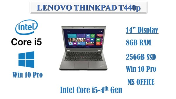 """Lenovo ThinkPad™ T440p 14"""" Business Laptop Intel Core i5-4th 14 Dsiplay  8GB/ 256GB SSD /WebCam / Win10 Pro/ Ms office(Refurbished)"""