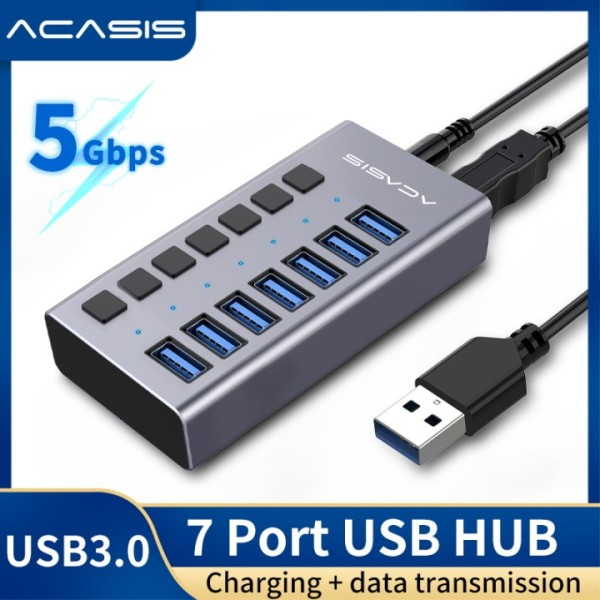 ACASIS USB Hub 3.0 High Speed 7 Port USB 3.0 Hub Splitter On/Off Switch with EU/US Power Adapter for MacBook Laptop PC