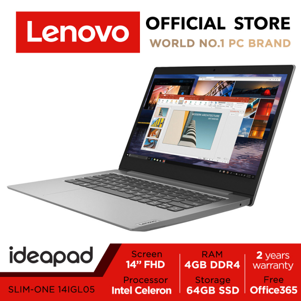 【Same Day Delivery】Lenovo ideapad 1i | 14inch FHD | Intel Celeron | 4GB RAM | 64GB | 2Y warranty | Win10 | Office 365