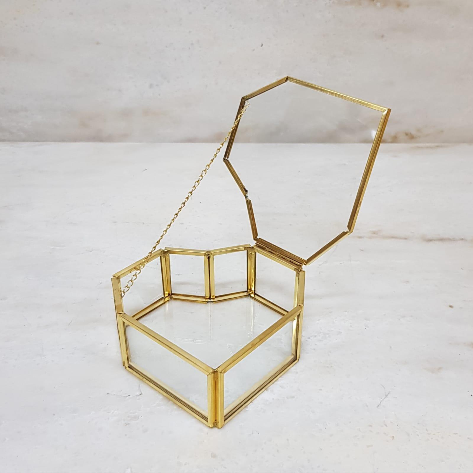 Gold geometric terrarium/ring boxes Heart shape box
