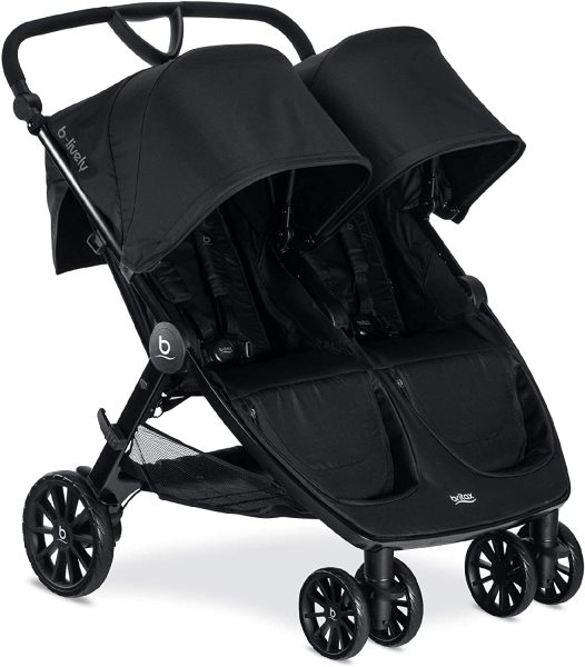 Britax B-Lively Double Two 2 Newborn Infant Baby to Child Children Kids Seat Seater Stroller - Up to 100 pounds - UV 50+ Canopy - Adjustable Handlebar - Easy Fold, Raven Black Singapore