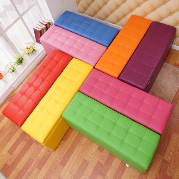 Household Stool Try Footstool Western Food Soft Surface Rectangular Four Seasons Beauty Salon Sofa Stool Economy