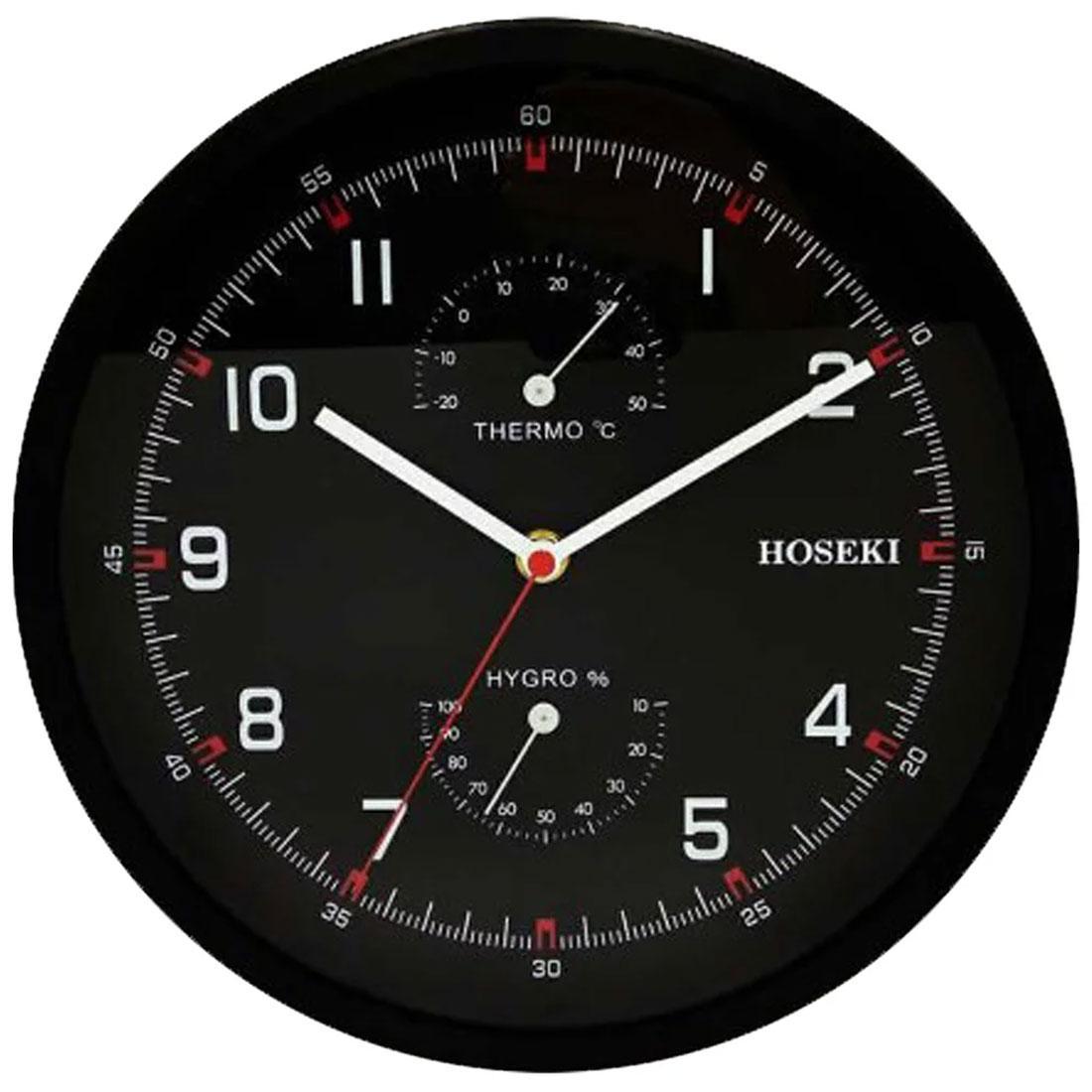 Hoseki Thermometer Hygrometer Black Analog Decor Wall Clock H-9402 H-9402B