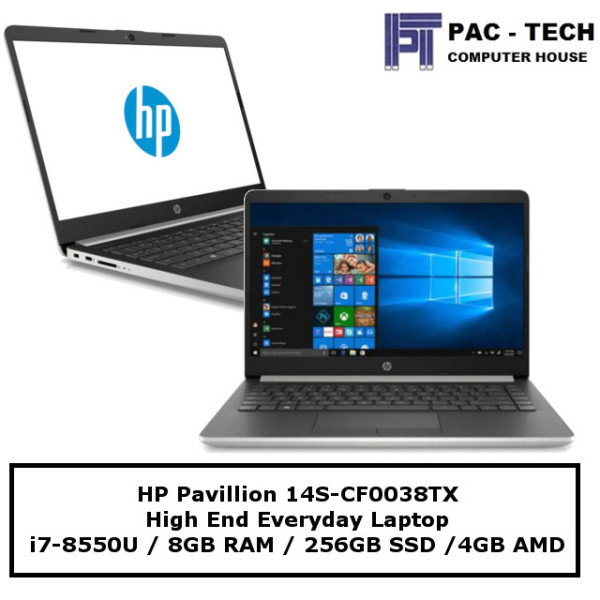 HP Pavillion 14S-CF0038TX / i7-8550U / 8GB RAM / 256GB SSD / AMD Radeon 4GB Graphics / 1 Year Warranty