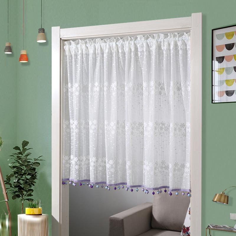 Japanese Korean Fresh Plaid Door Curtain Fabric Lace Joint Short Curtain Winter Bedroom Entrance Terrace/Patio Partition Half Curtain Send Rod