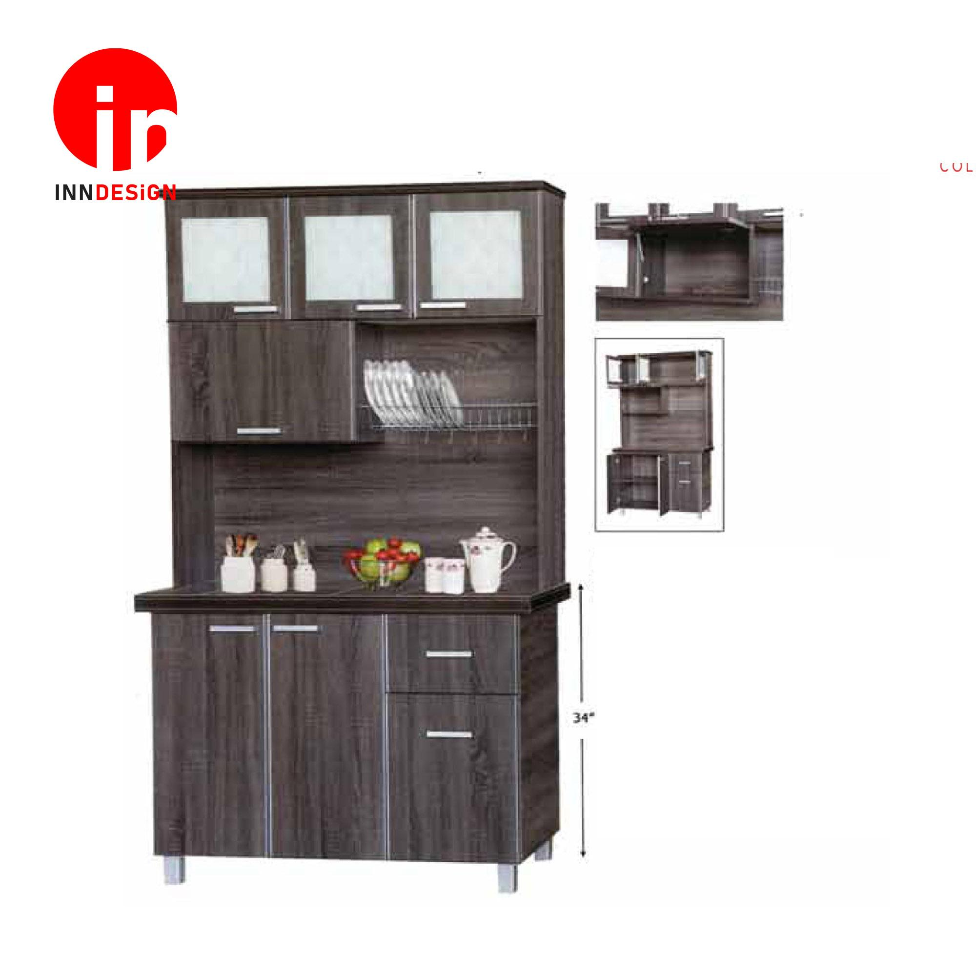 Cassiva 3 Doors Kitchen Cabinet With Top (Ceramic Tiles Top) (Free Delivery and Installation) (Walnut)
