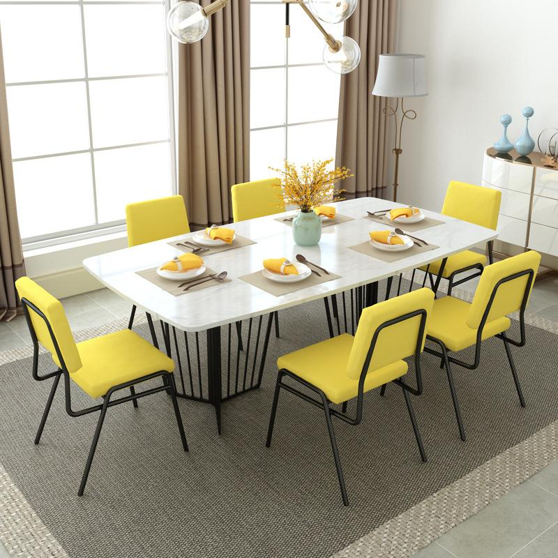 Northern Europe Marble Dining-table HYUNDAI Household Small Apartment Simple Iron Art Dining Tables And Chairs Set Hotel Rectangular Table