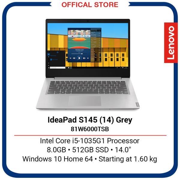 Lenovo IdeaPad S145 (14) (Grey) | Intel Core i5-1035G1 Processor | 8GB | 512GB | 14 | 2Y Premium Care Warranty