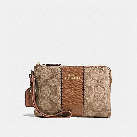 Coach Corner Zip Wallet Wristlet Clutch Leather F58035