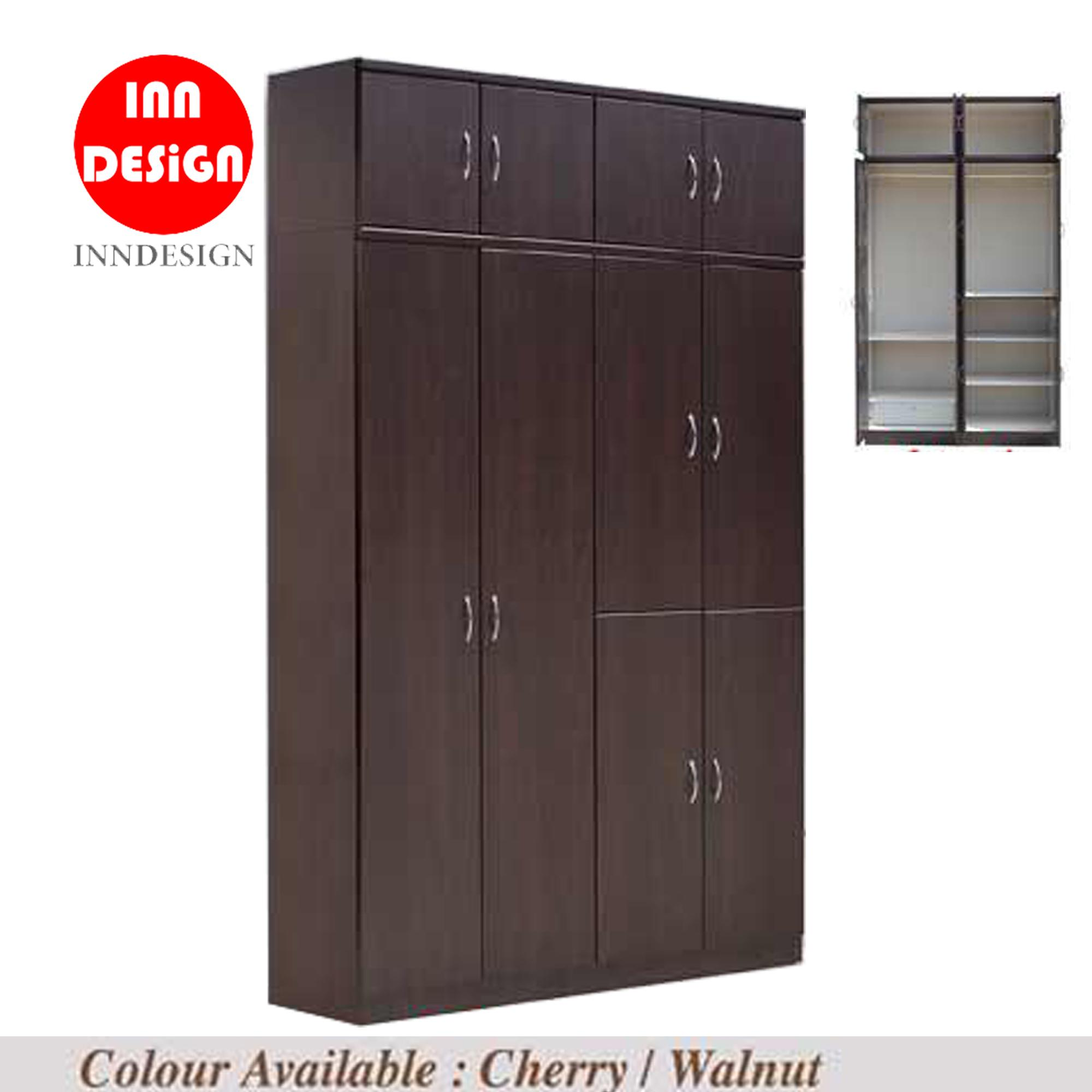 [LAST 3 SETS OFFER] 10 Doors Solid PlyWood Wardrobe (Free Delivery and Installation) (Cherry and Walnut)