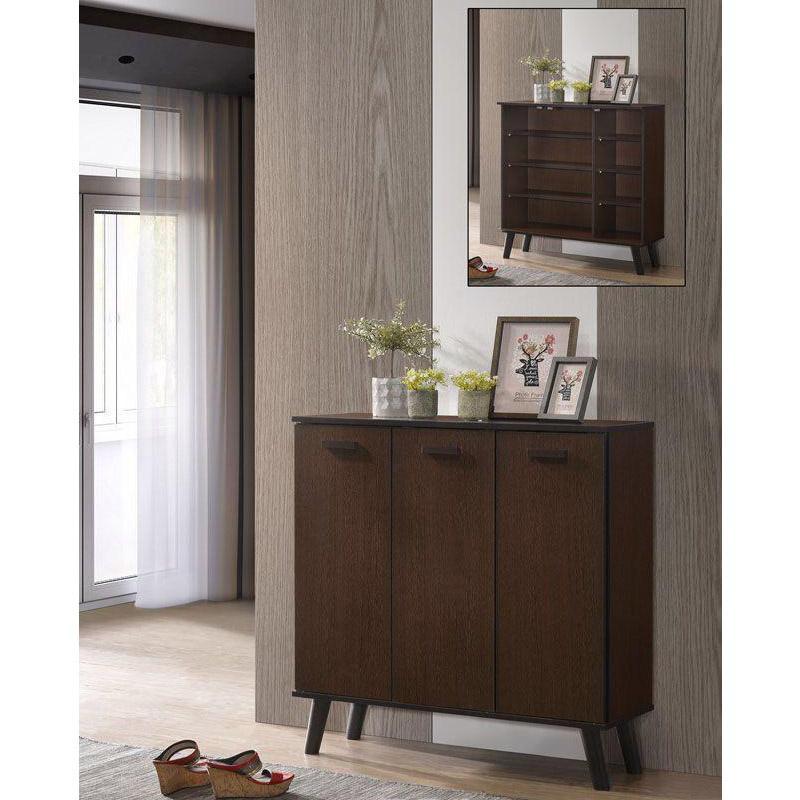[A-STAR] Randy 3 Door Stylish walnut wooden shoe cabinet (4 rows)