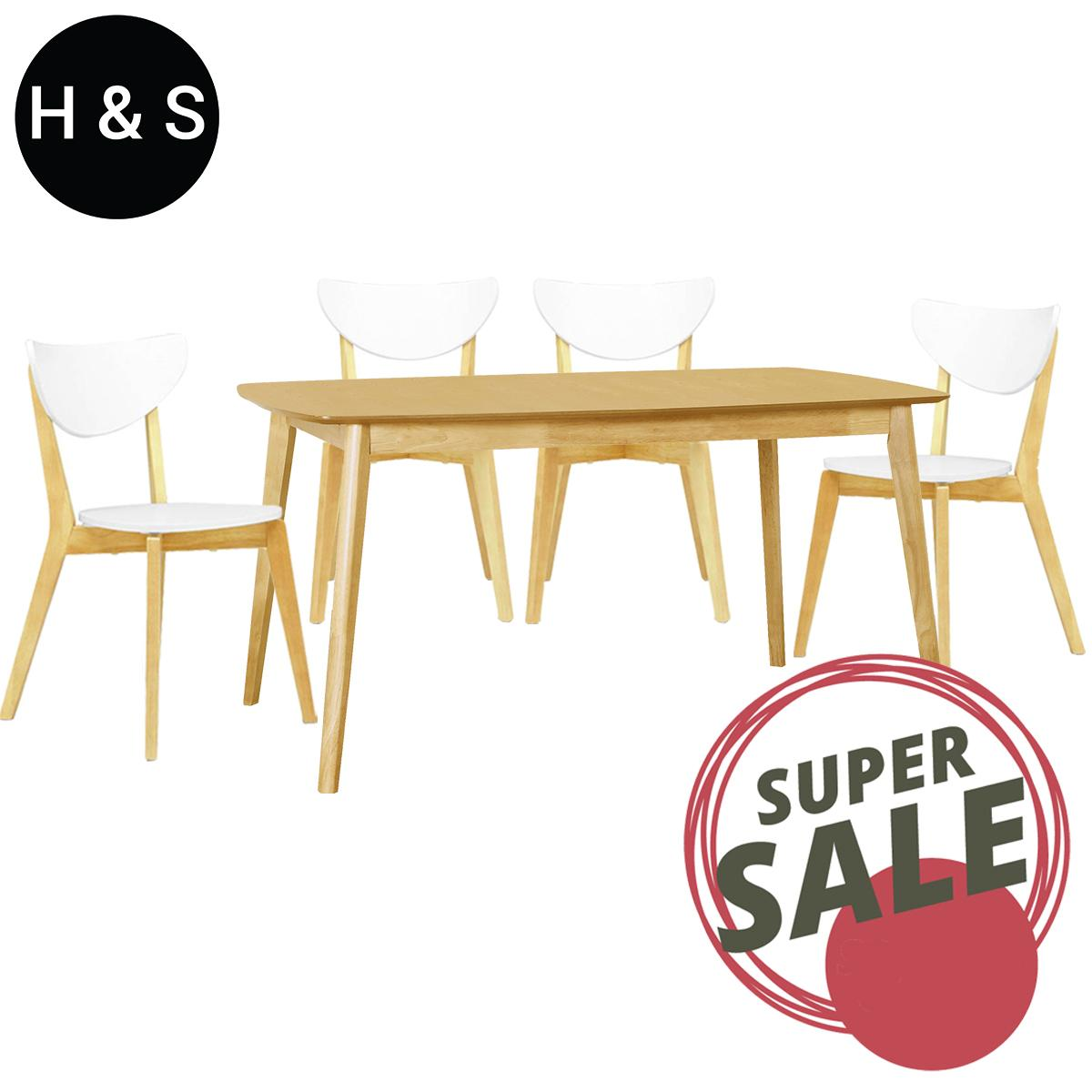 Kendal Oak 1.5m Dining Table + 4 Dining Chair. (1+4) Quality Dining Set