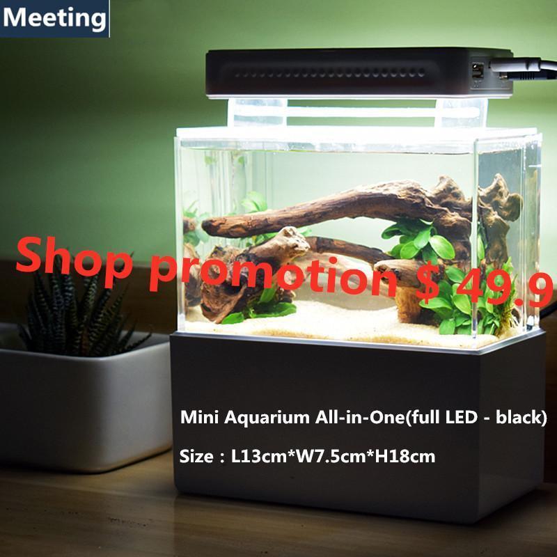 Office Mini Aquarium Built In Filter Desktop Small Tank Oxygen And Lighting System All In One Full Led Black