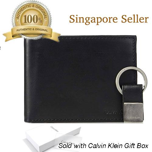 1a1c20802bfe Calvin Klein Men's Leather Bifold Wallet With Key Fob in Gift Box (Black)
