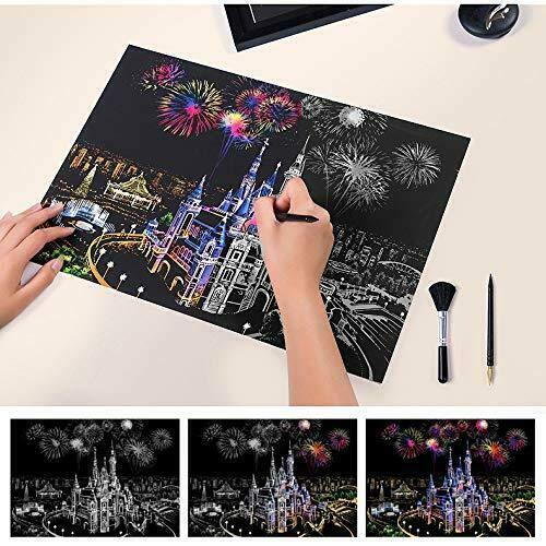 Mua 15.9x11.2 Inch Vui vẻ DIY Magic Doodling Scratch Vẽ tranh cào nhà Trang trí Thủ công mỹ nghệ Quà tặng Thành phố nổi tiếng Đêm ngắm pháo hoa Xây dựng