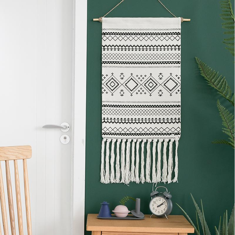 INS Cloth Tassels Tapestry Decoration Bohemian Northern Europe Hand-woven Tassels Electric Meter Box Paintings Fabric Big