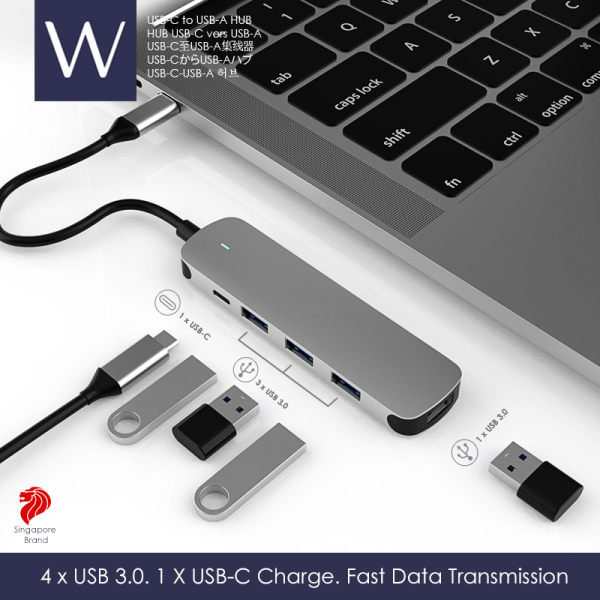 Wistech USB-C Type-C Hub to USB-A 4 in 1 USB 3.0 Adapter High-speed transmission 5G bps 500ms/s Singapore Brand
