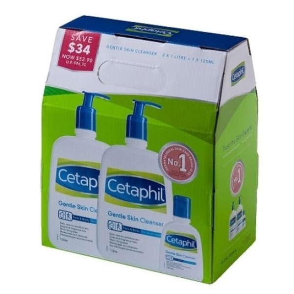 Buy CETAPHIL Gentle Skin Cleanser 1000ml x2 + 125ml [Exclusive to Watsons] Singapore