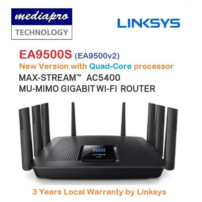 Linksys EA9500S (EA9500-v2) Quad-Core processor Wireles AC5400 Tri-band  Router with Eight Gigabit Lan Port - 3 Year Local Linksys Warranty