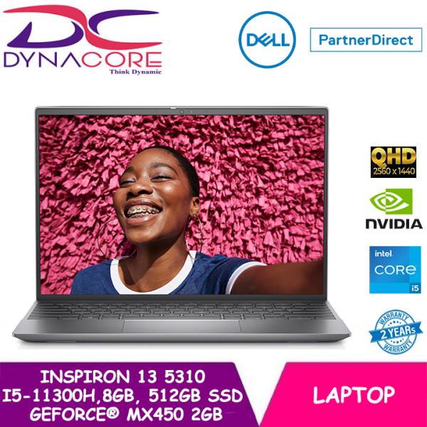 DYNACORE - DELL Inspiron 13 Laptop 5310 13.3 QHD | i5-11300H | 8GB RAM | 512GB SSD | GeForce® MX450 | WIN 10 HOME | 2 YEARS WARRANTY
