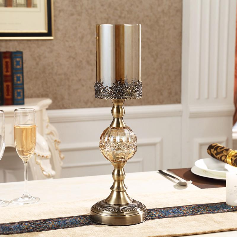 Luxury American-Style Table Model Room Soft Decoration European Style Candlelight Dinner Props Crystal Metal Candle Holder