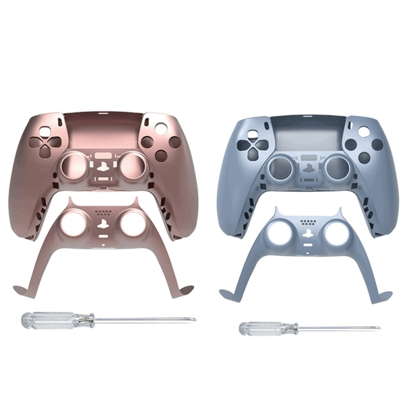 2Set JYS Game Controller Replacement Shell Gamepad Case Front Cover Rear Cover for Sony PS5 Handle Set Blue & Rose Red