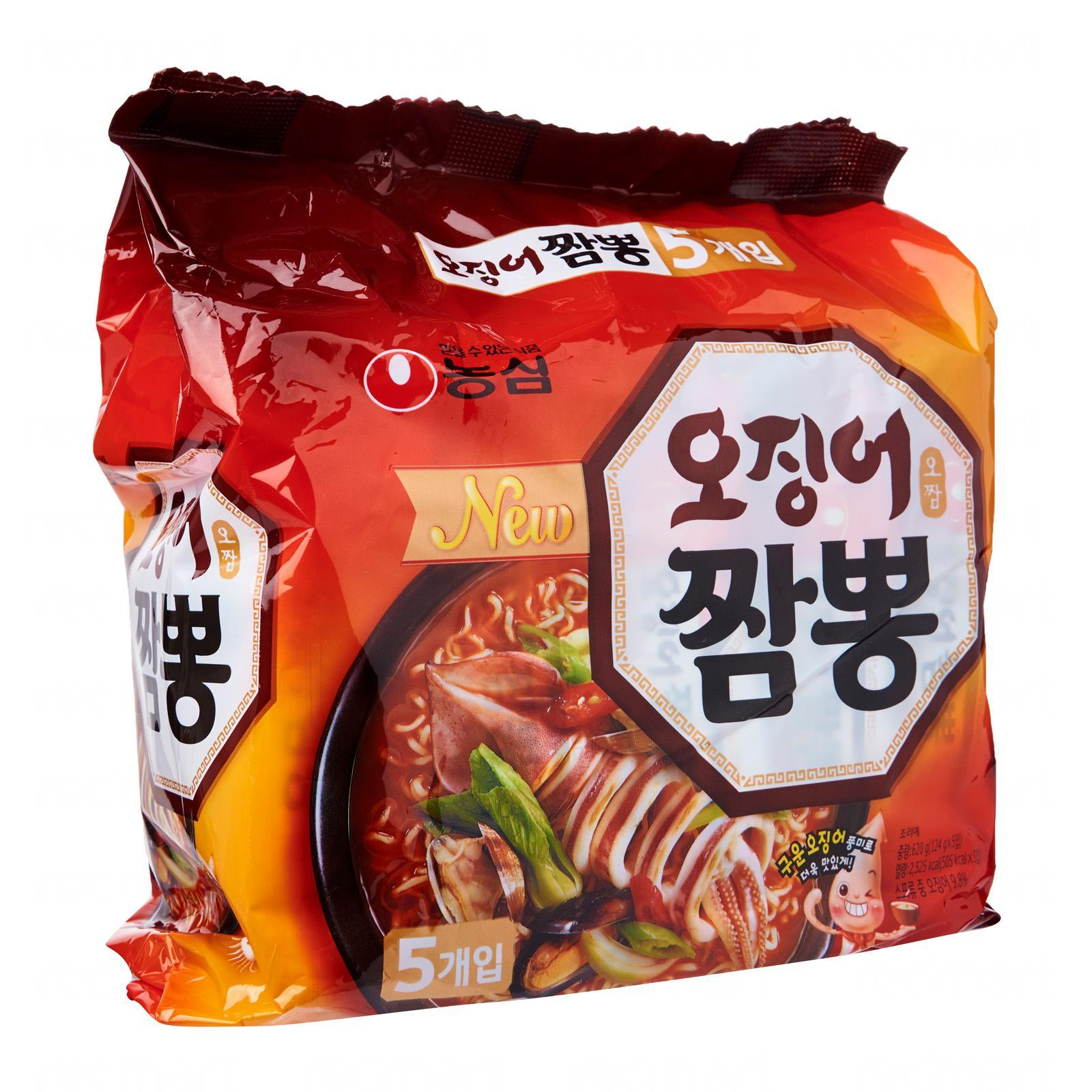 Nongshim Korean Champong Spicy Squid Seafood Instant Ramen Noodles 5s