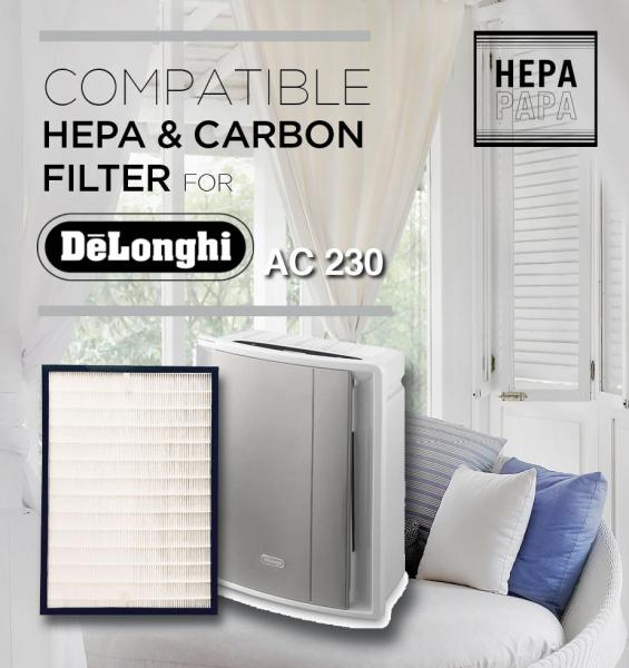Compatible HEPA & Carbon Filter for Delonghi AC230 [Free Alcohol Swab] [SG Seller] [7 Days Warranty] Singapore