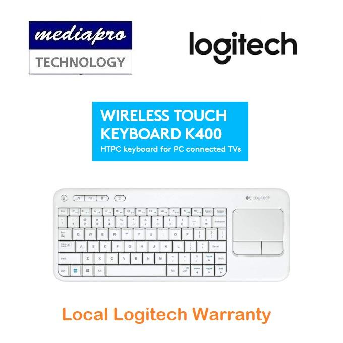 Logitech K400 Plus White TV Plus Unifying Keyboard with Android Keys and Integrated Touchpad, TV-Connected PC - Local Logitech Warranty Singapore
